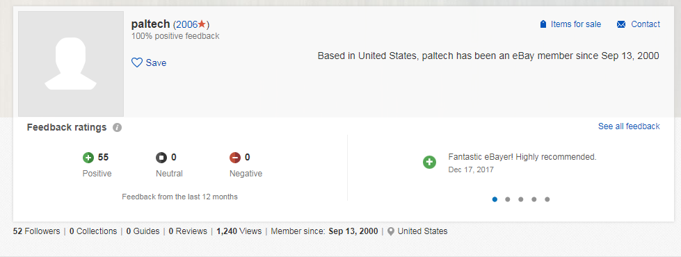 ebay profile stats for Paltech